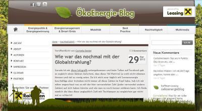 Screenshot des Energieblogs ÖkoEnergie-Blog