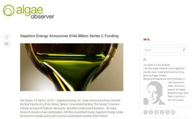 Screenshot des Energieblogs AlgaeObserver