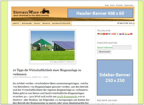 Werbung und Banner zu Bioenergie Biogas und Biokraftstoffen