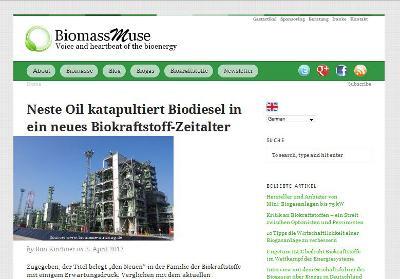 Screenshot des Energieblogs BiomassMuse