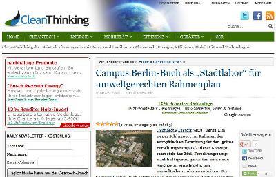 Screenshot des Energieblogs Cleanthinking