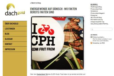 Screenshot des Energieblogs Dachgold