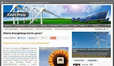Screenshot des Energieblogs KHW-Preis