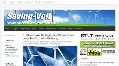 Screenshot des Energieblogs Saving-Volt
