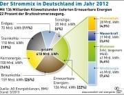 Grafik zeigt Strommix von Deutschland für das Jahr 2012