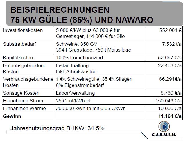 Tabelle Kosten Mini-Biogasanlage 75 kW