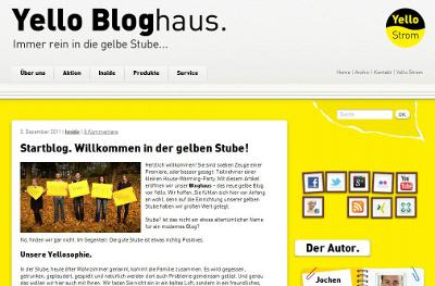 Screenshot des Energieblogs Yello Bloghaus