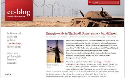 Screenshot des Energieblogs ee-blog
