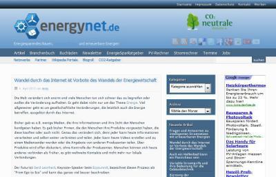 Screenshot vom Energieblog energynet