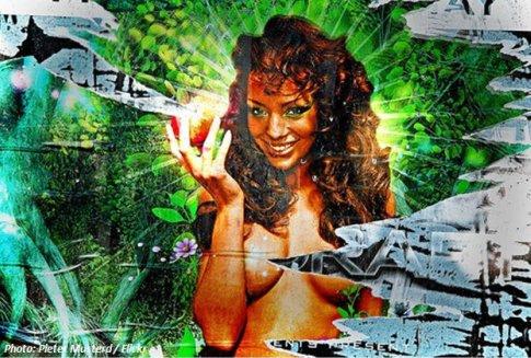 Lächelnde Frau als Sonne mit Apfel in der Hand für Sexappel der Bioenergie