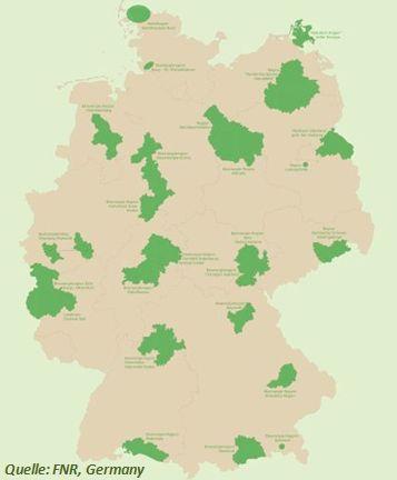 Übersicht Regionen der Bioenergiedörfer in Deutschland für Biogas und Biokraftstoffe