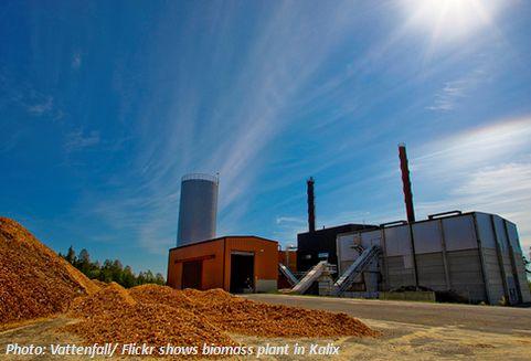 Biomassekraftwerk Biomass plant von Vattenfall mit Holzpellets für Bioenergie