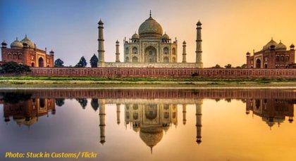 Taj Mahal als Symbol für Indien und die Bioenergieentwicklung Biogas